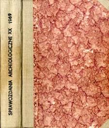 Sprawozdania Archeologiczne T. 20 (1969), Spis treści