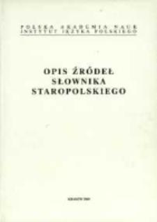 Opis źródeł słownika staropolskiego