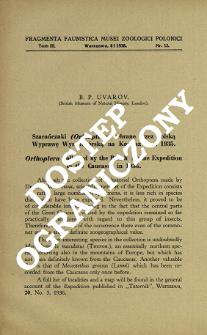 Szarańczaki (Orthoptera) zebrane przez Polską Wyprawę Wysokogórską na Kaukaz w r. 1935 = Orthoptera collected by the Polish Alpine Expedition to the Caucasus in 1935