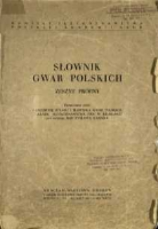 Słownik gwar polskich : zeszyt próbny