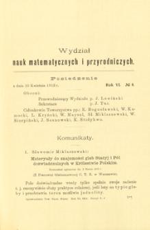 Sprawozdania z Posiedzeń Towarzystwa Naukowego Warszawskiego, Wydział III, Nauk Matematycznych i Przyrodniczych. Rok VI. No 4.