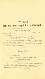 Sprawozdania z Posiedzeń Towarzystwa Naukowego Warszawskiego, Wydział III, Nauk Matematycznych i Przyrodniczych. Rok VI. No 5.