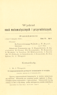 Sprawozdania z Posiedzeń Towarzystwa Naukowego Warszawskiego, Wydział III, Nauk Matematycznych i Przyrodniczych. Rok VI. No 8.