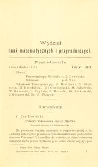Sprawozdania z Posiedzeń Towarzystwa Naukowego Warszawskiego, Wydział III, Nauk Matematycznych i Przyrodniczych. Rok VI. No 9.