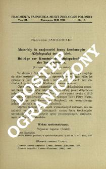 Materiały do znajomości fauny krocionogów (Diplopoda) tatrzańskich = Beiträge zur Kenntnis der Diplopodenfauna des Tatra-Gebirges