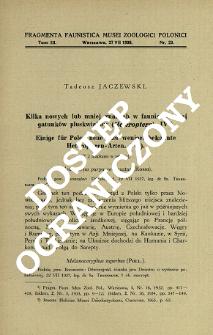 Kilka nowych lub mniej znanych w faunie polskiej gatunków pluskwiaków (Heteroptera). 4 = Einige für Polen neue oder weniger bekannte Heteropteren- Arten. 4