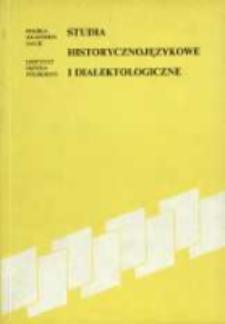 Studia historycznojęzyczne i dialektologiczne