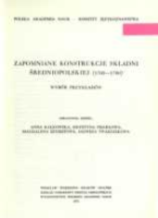 Zapomniane konstrukcje składni średniopolskiej (1700-1780) : wybór przykładów