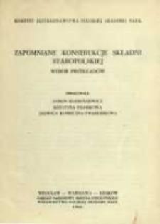 Zapomniane konstrukcje składni staropolskiej : wybór przykładów