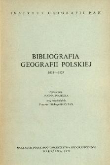 Bibliografia Geografii Polskiej 1918-1927