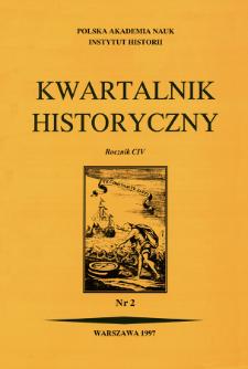Kwartalnik Historyczny. R. 104 nr 2 (1997), Strony tytułowe, spis treści