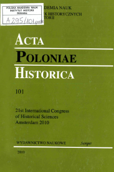 Acta Poloniae Historica. T. 101 (2010), Title pages, Contents