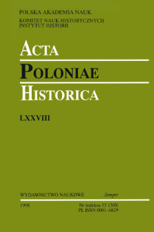 Acta Poloniae Historica. T. 78 (1998), Title pages, Contents