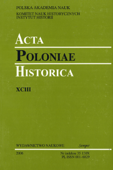 Acta Poloniae Historica. T. 93 (2006), Title pages, Contents
