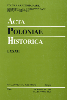 Acta Poloniae Historica. T. 82 (2000), News