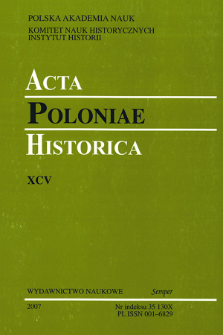 Acta Poloniae Historica. T. 95 (2007), News