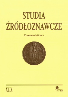 Studia Źródłoznawcze = Commentationes T. 49 (2011), Title pages, Contents