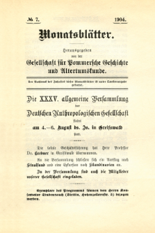 Monatsblätter Jhrg. 18, H. 7 (1904)