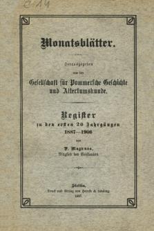 Monatsblätter. Register zu den ersten 20 Jahrgängen 1887-1906