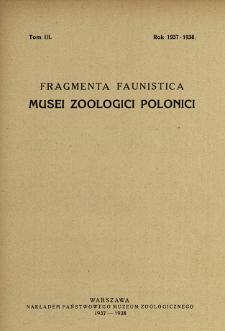 Fragmenta Faunistica Musei Zoologici Polonici ; t. 3 - Spis treści