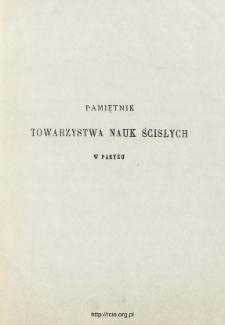 Pamiętnik Towarzystwa Nauk Ścisłych w Paryżu T. 3 (1873), Spis treści i dodatki