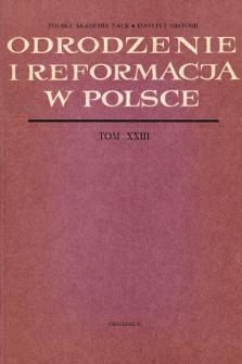 Odrodzenie i Reformacja w Polsce T. 23 (1978), Strony tytułowe, Spis treści