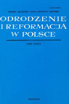 Odrodzenie i Reformacja w Polsce T. 36 (1992), Strony tytułowe, Spis treści