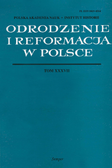 Odrodzenie i Reformacja w Polsce T. 37 (1993), Strony tytułowe, Spis treści