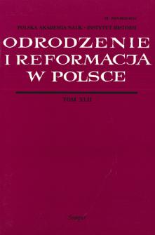 Odrodzenie i Reformacja w Polsce T. 42 (1998), Ttitle pages, Contents