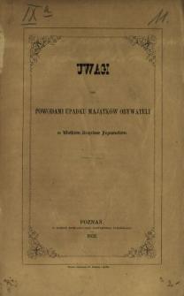 Uwagi nad powodami upadku majątków obywateli w Wielkiém Księstwie Poznańskiém