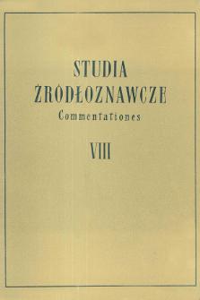 Studia Źródłoznawcze = Commentationes T. 8 (1963), Title pages, Contents