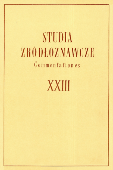 Studia Źródłoznawcze = Commentationes T. 23 (1978), Strony tytułowe, Spis treści