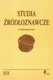 Studia Źródłoznawcze = Commentationes T. 47 (2009), Title pages, Contents