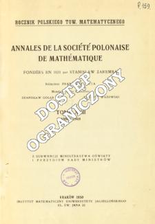 Annales de la Société Polonaise de Mathématique T. 22 (1949), Table of contents and extras