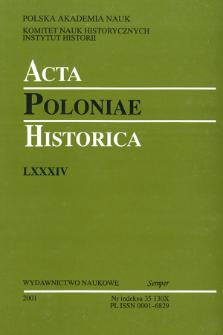 Acta Poloniae Historica. T. 84 (2001), Strony tytułowe, Spis treści