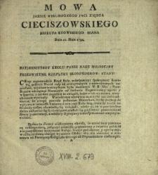 Mowa Jasnie Wielmoznego Jmci Xiędza Cieciszowskiego Biskupa Kiiowskiego Miana Dnia 21. Maia 1792