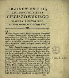 Przymowienie Się J.W. Jegomosci Xiędza Cieciszowskiego Biskupa Kiiowskiego Na Sessyi Semowey [!] 24. Marca 1789. Roku