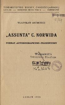 """Assunta"" C. Norwida : poemat autobiograficzno-filozoficzny"