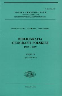 Bibliografia Geografii Polskiej1987-1989 Część II