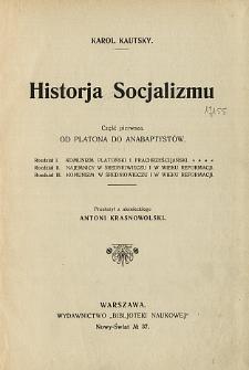 Historja socjalizmu. Cz. 1, Od Platona do anabaptystów