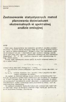 Zastosowanie statystycznych metod planowania doświadczeń ekstremalnych w spektralnej analizie emisyjnej = Application of statistical methods design of experiments in emission spectroscopy