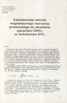 Zastosowanie metody magnetycznego rezonansu protonowego do określania zawartości SiHCl3 w technicznym SiCl4