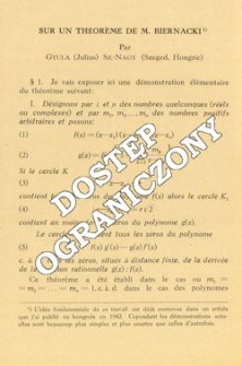 Sur un théorème de M. Biernacki