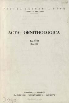 Acta Ornithologica, t. 18 (1980-1981)