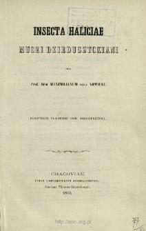 Insecta Haliciae Musei Dzieduszyckiani