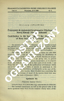 Przycznek do znajomości krocionogów (Diplopoda) Nowej Szkocji i Nowej Fundlandii = Contribution to the knowledge of the Diplopoda of Nova Scotia and Newfoundland