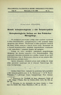 Notatki koleopterologiczne z Gór Świętokrzyskich = Koleopterologische Notizen aus dem Polnischen Mittelgebirge