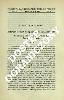 Materiały do fauny nietoperzy Ordynacji Zamoyskich = Materialien zur Chiropteren-Fauna des Zamoyski-Majorats