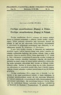 Vertigo moulinsiana (Dupuy) w Polsce = Vertigo moulinsiana (Dupuy) in Poland