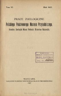 Prace Zoologiczne Polskiego Państwowego Muzeum Przyrodniczego ; t. 6 - Spis treści